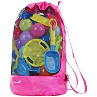 EocuSun Beach Mesh Bag Tote Durable Large Drawstring Beach Backpack Sand Away Swim and Pool Beach Toys Storage Bags Packs, Stay Away from Sand and Water, Toy Not Included
