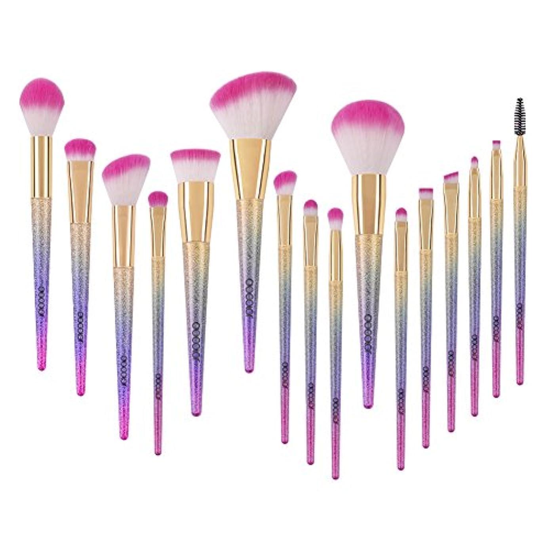 リア王傾向不良品Docolor ドゥカラー 化粧筆 メイクブラシ 16本セット 欧米で大ブーム中のレインボーブラシ