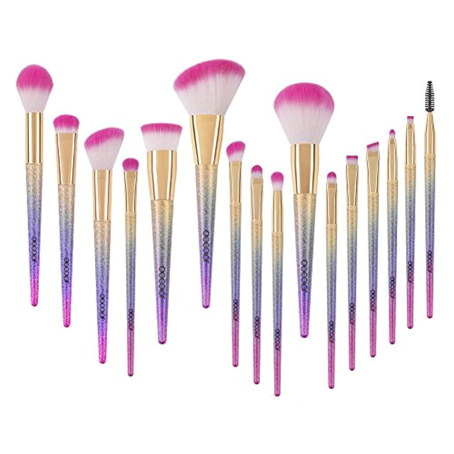 かりてブランクトランスミッションDocolor ドゥカラー 化粧筆 メイクブラシ 16本セット 欧米で大ブーム中のレインボーブラシ