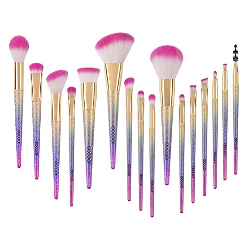 砂外出不快Docolor ドゥカラー 化粧筆 メイクブラシ 16本セット 欧米で大ブーム中のレインボーブラシ