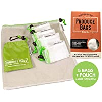 Eco Friendly Reusable Mesh Produce Bags | Set 5 Large + Pouch | No Waste Recycled EcoMesh | Washable | for Shopping, Fruit, Vegetables, Home Storage