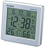 MAG(マグ) 電波デジタル目覚まし時計 アポロ2号 温度表示 湿度表示 壁掛け兼用 シルバーメタリック T-634SM