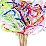 Boao 40 Pieces Mix Colour Ribbon Wands Sticks with Bell Fairy Stick Party Streamers for Wedding Party