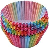 BEE&BLUE カップケーキ カラフル 100枚入り 紙コップ ベーキングカップ 使い捨て ストライプ アソート マフィン型 耐熱 耐油 キャンディー デザート