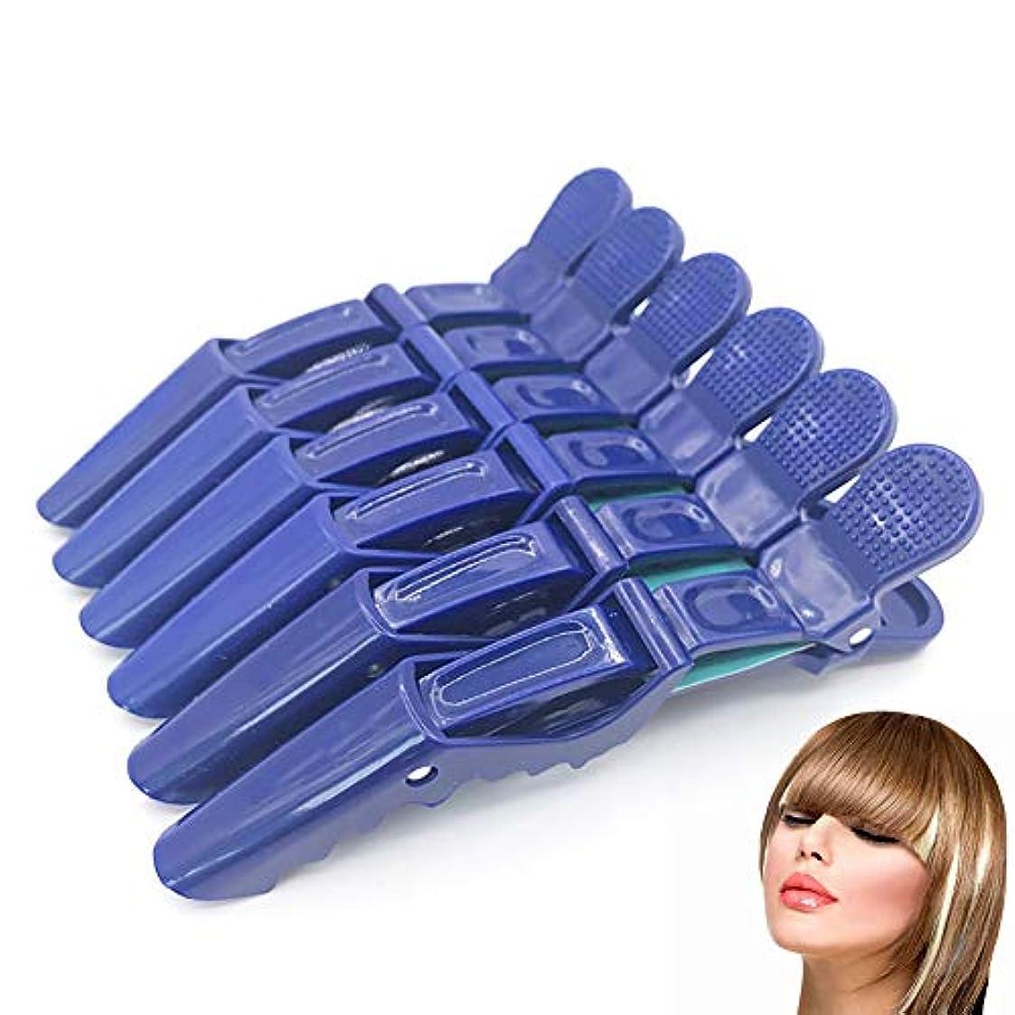 顕現減る完璧6 /保持クリップ、プロ毛髪はヘアクリップセグメント固体プラスチックノンスリップグリップワニ口クリップ髪、毛の粗い及び細かい歯幅(青)切断