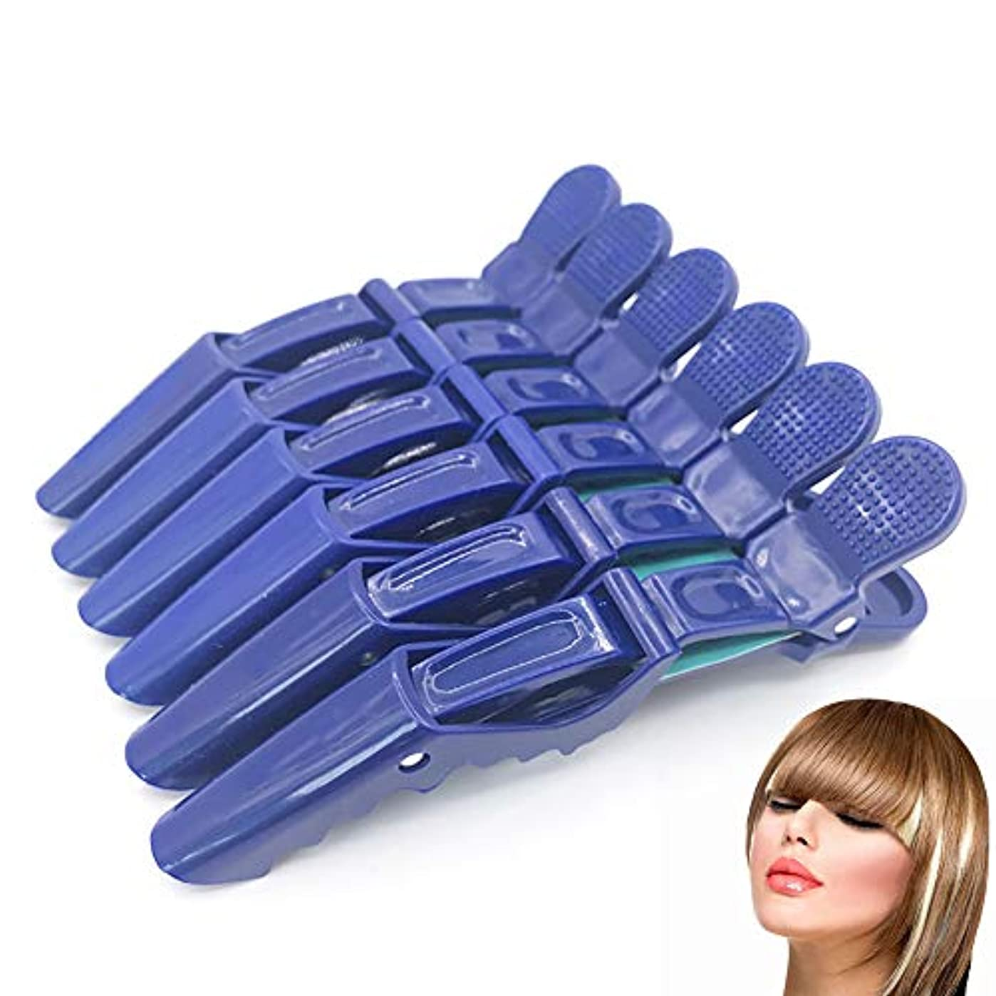 ステージボーカル動く6 /保持クリップ、プロ毛髪はヘアクリップセグメント固体プラスチックノンスリップグリップワニ口クリップ髪、毛の粗い及び細かい歯幅(青)切断