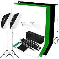 "CRAPHY 125W 5500K写真スタジオビデオライト照明キット(20 x 28""ソフトボックス + 3 色モスリンバックドロップ(白・黒・緑)+10 x 6.5ftバックグラウンドサポートスタンド)"