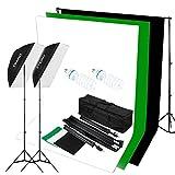 """CRAPHY 125W 5500K写真スタジオビデオライト照明キット(20 x 28 """"ソフトボックス + 3 つ バックドロップ(ホワイト・ブラック・グリーン)+10 x 6.5ftバックグラウンドサポートスタンド)"""