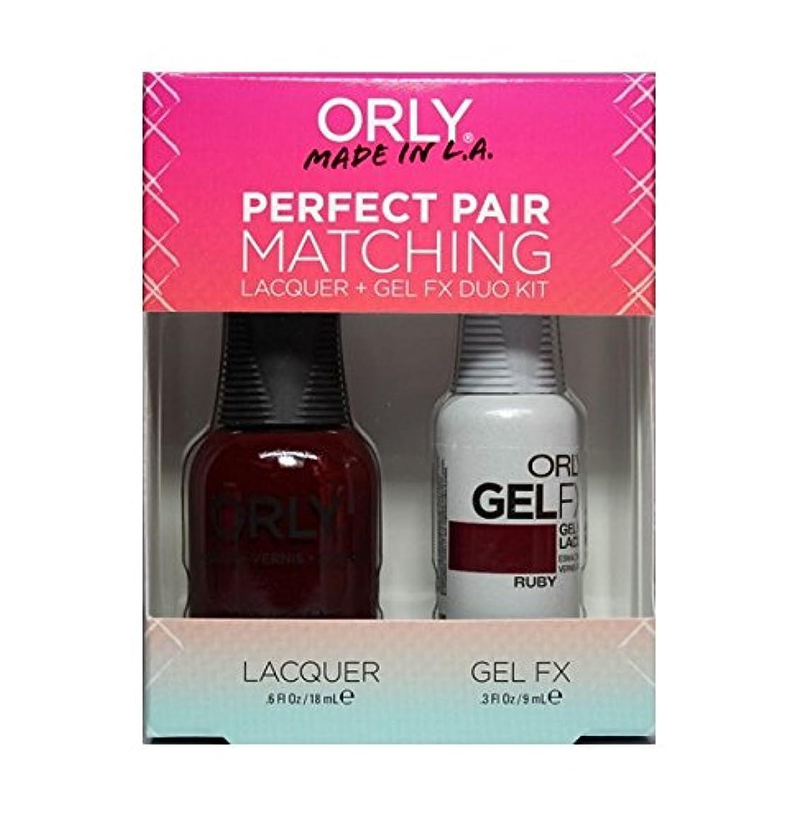 ランデブーギター世代Orly - Perfect Pair Matching Lacquer+Gel FX Kit - Ruby - 0.6 oz / 0.3 oz