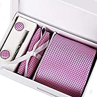 "Zakka Republic Mens Business Tie, Cufflinks, Pocket Square and 3"" Tie Clip Set"