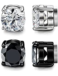 LOYALLOOK Stainless Steel Magnetic Stud Earrings for Men Women Unisex Cubic Zirconia Inlaid 5MM