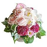 パラボッセ バラ3本が入っているフラワーアレンジメント おまかせSサイズ ピンク系 19cmx19cmx15cm flower arrangements pink