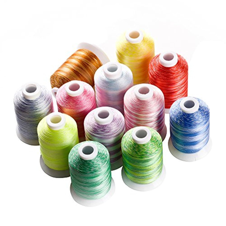 Simthread ミシン刺しゅう糸 パッチワーク縫い糸 段染め糸 12色セット 各色1000m
