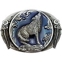 Lanxy Vintage Western Cowboy Wolf Leaf Belt Buckle Blue Enamel Grey Tone