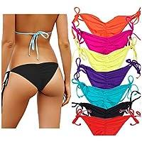 CROSS1946 Women's Sexy Brazilian Ruched Semi Thong Bikini Bottom Tie Side