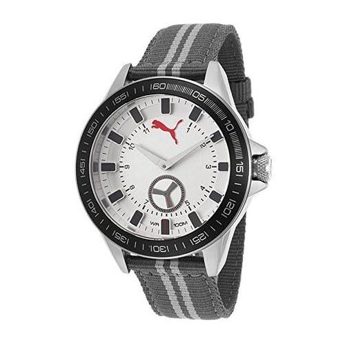 [プーマ] PUMA 腕時計 Men's Grey Nylon Silver-Tone Dial Black Bezel クォーツ PU103631005 [TimeKingバンド調節工具& HARP高級セーム革セット]【並行輸入品】
