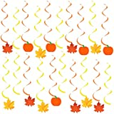 Autumn Hanging Swirls Thanksgiving Decorations - Pack of 35, Pumpkin and Maple Leaf Fall Themed Decorations Supplies No DIY Required Great for Birthday Party, Outdoor Garden, Home Office Decor Kit