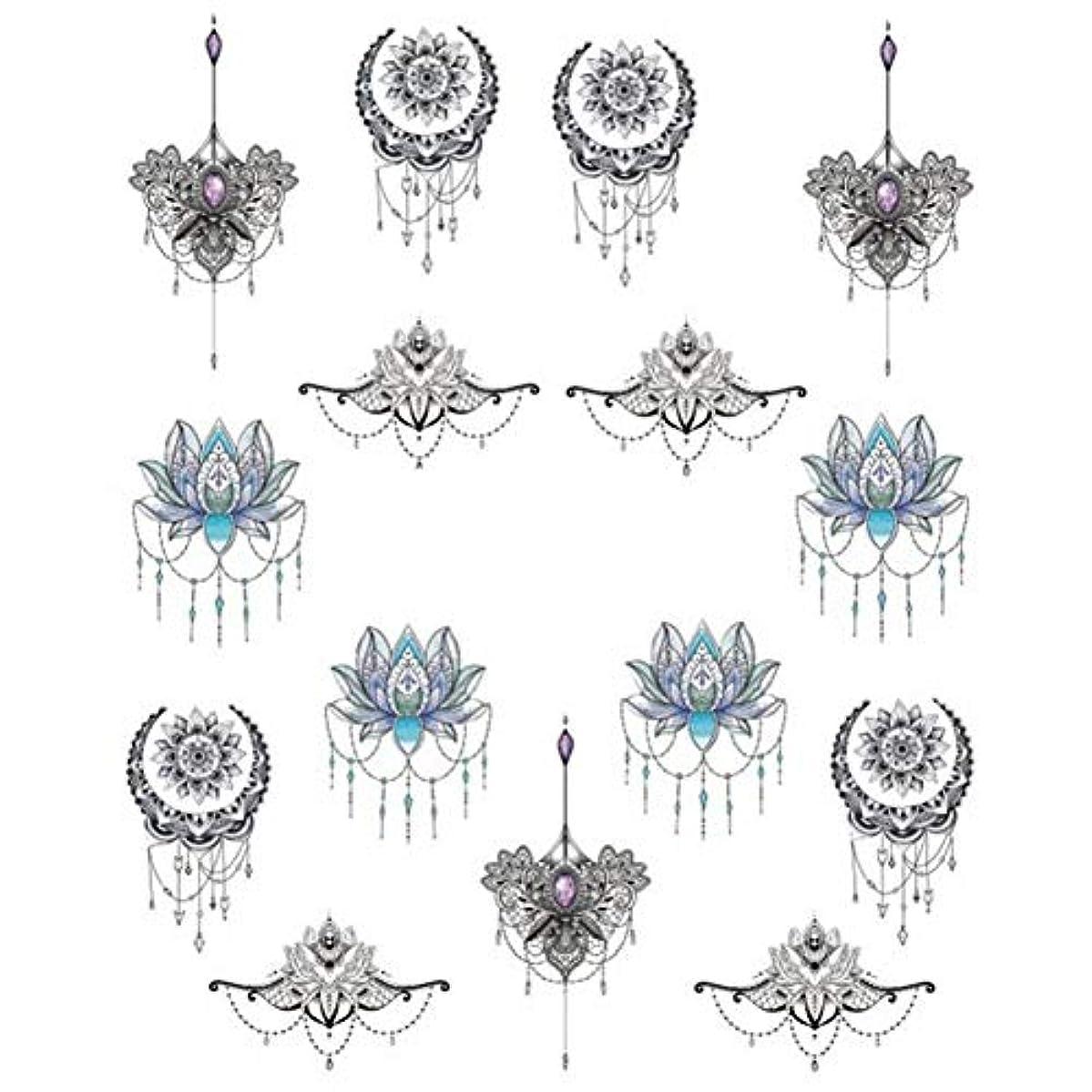青ナイロン複合5ピースネイルアートステッカー、ネックレスドリームキャッチャーネットパターン水転写DIYネイルアートステッカー装飾デカール(2#)