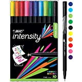 BIC Intensity Fineliner Fine Point Pens, 0.4mm – Set of 10 Markers, Reusable Pack – Assorted Fashion Colours, No Bleed for Writing, Adult Colouring