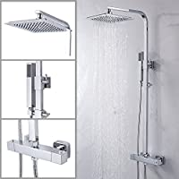 Powanfity シャワーヘッド セット レイン ヘッド オーバーヘッド 水圧 アップ 強い  サーモシャワー混合栓 シャワー シャワーホース ステンレス アーム  節水 洗浄便利 正方形 高品質 セット