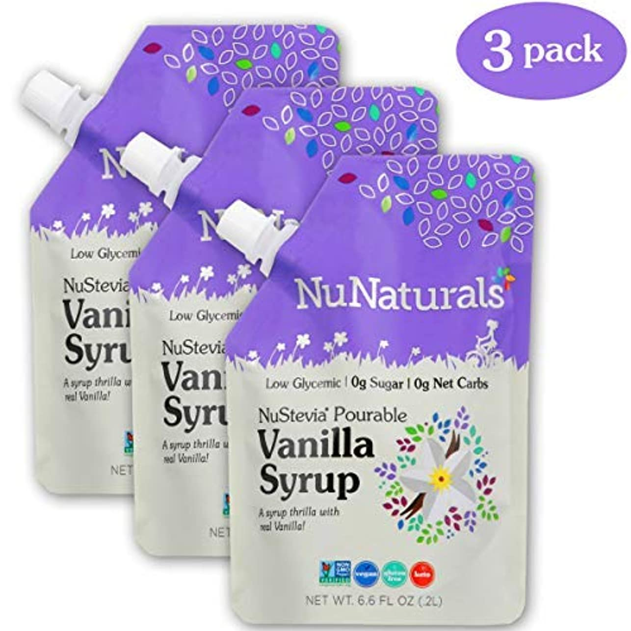 本質的ではない安全でない斧NuNaturals Vanilla Flavored Sugar-Free Pourable Syrup 0 Net Carbs (Vanilla Syrup 3 Pack 6.6 oz) [並行輸入品]