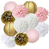 Furuix 誕生日 飾り付け パーティー 披露宴 飾り 12点 セット ペーパーフラワー ハニカムボール 提灯 インテリア ピンク ゴールド ホワイト