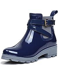 [17Mile] レインブーツ レディース 雨靴 シンプル 無地 サイドゴア レインシューズ オシャレ 快適 防水 耐滑 ショートブーツ 大きいサイズ 梅雨対策