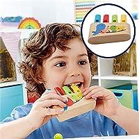 hamulekfae-子供赤ちゃん教育木製レインボーパンパイプホイッスル鳥口笛を吹く音楽玩具one