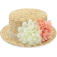 Sun hat, Straw Summer Women Beach Sun hat for Boater Bowler Hat Handmade Fashion Flower 2018 New, (Color : Natural, Size : 56-58cm)