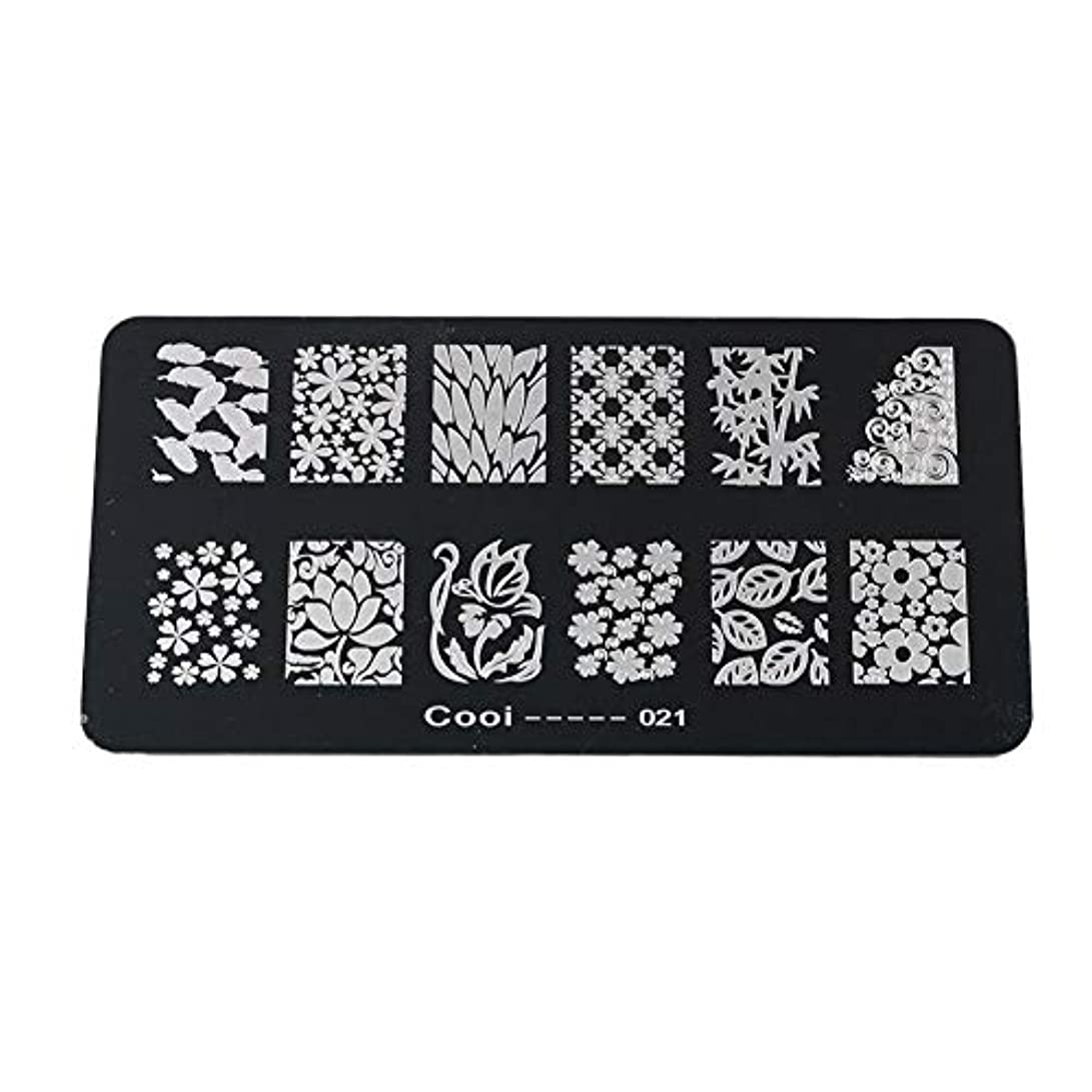 ぼろ単にかごYuyte耐久性のあるステンレス鋼の長方形のネイルアートスタンピングプレート-DIYマニキュア印刷イメージテンプレート(05)