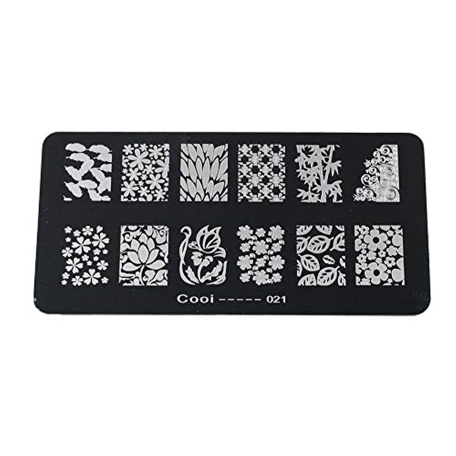だますきしむカリング耐久性のあるステンレス鋼の長方形のネイルアートスタンピングプレート-DIYマニキュア印刷イメージテンプレート(05)