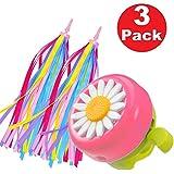 kortes 1 Pack Kids Bike Bell and 2 Pack Kids Bike Streamers for Children's Bike Accessories (Pink, Red,& Blue)