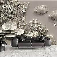 Lcymt 家の装飾グレーエンボスフォト壁紙壁画現代の3Dリビングルームの寝室の自己接着ビニール/シルクの壁紙-400X280Cm
