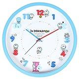 ドラえもん 掛け時計 アナログ 連続秒針 立体文字盤 ブルー