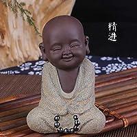 茶玩 陶器工芸 お釈迦様 縁起物 陶器製 ミニ 仏像 如来像 置物インテリア 可愛 い 小僧 小坊主
