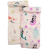 おくるみ スワドル ムスリン 新生児にオススメ 竹繊維とコットンでとっても柔らか 洗うほど柔らかい 120×120cm 可愛い柄 女の子向け 2枚セット (ピンク)
