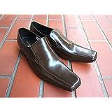 キャサリンハムネット KATHARINE HAMNETT 紳士靴 ビジネスシューズ ロングノーズ ヴァンプスリッポン 本革[ダークブラウン]3946