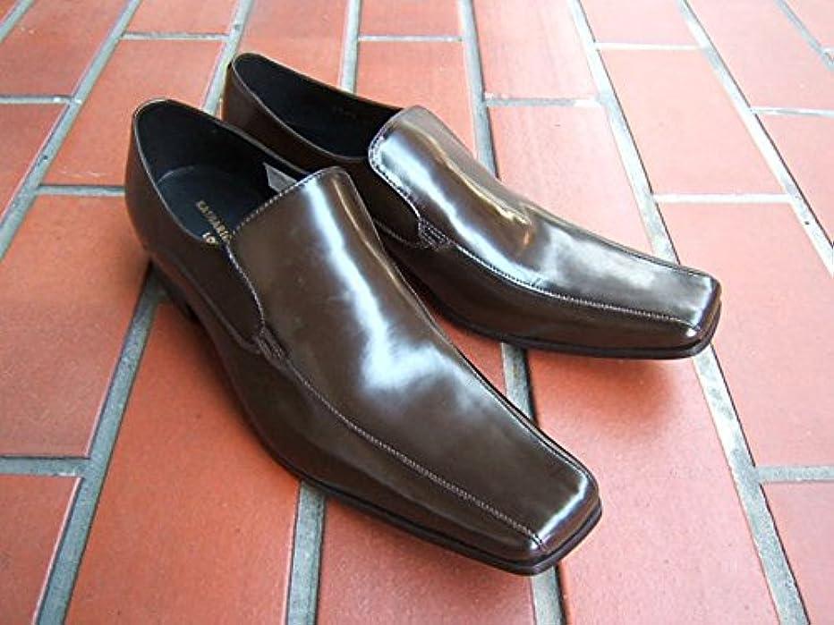 受粉者トランスペアレントトンネルキャサリンハムネット KATHARINE HAMNETT 紳士靴 ビジネスシューズ ロングノーズ ヴァンプスリッポン 本革[ダークブラウン]3946