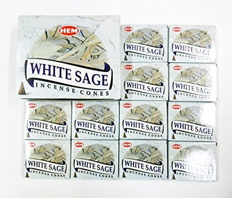 凍結有彩色のキュービックHEM WHITE SAGE ホワイトセージ コーン12箱入り