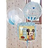 1歳誕生日 お誕生日 ミッキーマウス バルーンギフト バルーン電報 ファーストバースデイ パーティバルーン 装飾 1stバースデイ ミッキーマウス セパレート 3バルーンタイプ 男の子用 3b