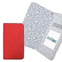 mitas iPhone7Plus ケース 手帳型 内側プリント (250) アラベスク 花 植物 C 外側レッド RB-2307-C-RD/iPhone7Plus