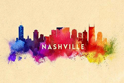 ナッシュビル、テネシー州–Skyline抽象 12 x 18 Art Print LANT-57848-12x18