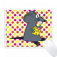 ピンクの黄色の点でチーズをかわいいマウスのプリント PC Mouse Pad パソコン マウスパッド