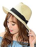 ナチュラル×黒 F (ディーループ)D-LOOP 紫外線 対策 ペーパーブレード 中折れ リボン 付き つば広 ハット 女優帽 レディース つば広め 無地 日除け 日よけ UV カット つばひろ 中折ハット マリン つば広ハット 麦わら 帽子 ぼうし つば広帽子 122329-010-828