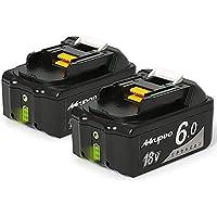Mrupoo 18v バッテリー BL1860Bバッテリー マキタ互換バッテリー18v BL1860B マキタ対応互換品 BL1830 BL1840 BL1850 BL1860 リチウムイオン電池 電動工具 マキタ 18v バッテリー 一年保証 (2点セット)