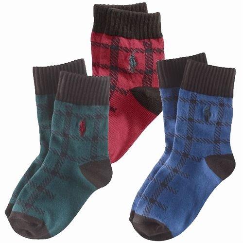 プライド柄 ソックス (赤色・緑色・青色)靴下【月齢:6ヶ月-4歳】 ポロ ラルフ ローレン