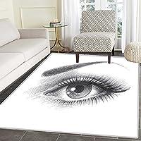 アイエリアラグ 手描きスタイル 女性の目 抽象アートデザイン ブラシストローク付き 屋内/屋外用 エリアラグ 2フィートx3フィート マルチカラー 2'x3'(W 60cm x L 90cm)