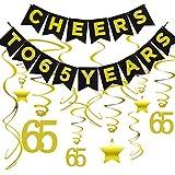 65歳の誕生日パーティーデコレーションキット - 65歳のお祝いに乾杯 65歳のお祝い 吊り下げ渦巻き 65歳のお祝い 65周年記念のデコレーション