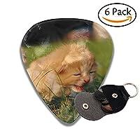 ギターピック 可愛い猫 セルロイド ピック 3つの厚さ Thin 0.46mm Medium 0.71mm Heavy 0.96mm 6枚セット収納ケース付き