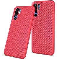 カバー Huawei P30 Pro 耐久保護ケース, Happon スリム 防塵の 耐衝撃性 携帯電話ケース 耐久保護ケース - Red